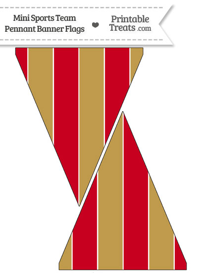 49ers Colors Mini Pennant Banner Flags from PrintableTreats.com