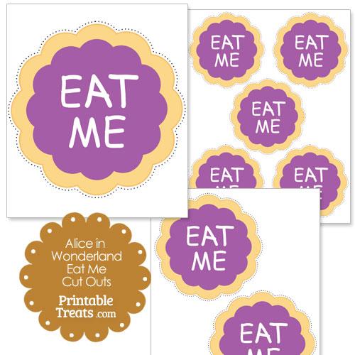 Alice in Wonderland eat me cookie in purple