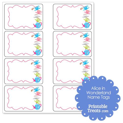 Alice in Wonderland printable name tags