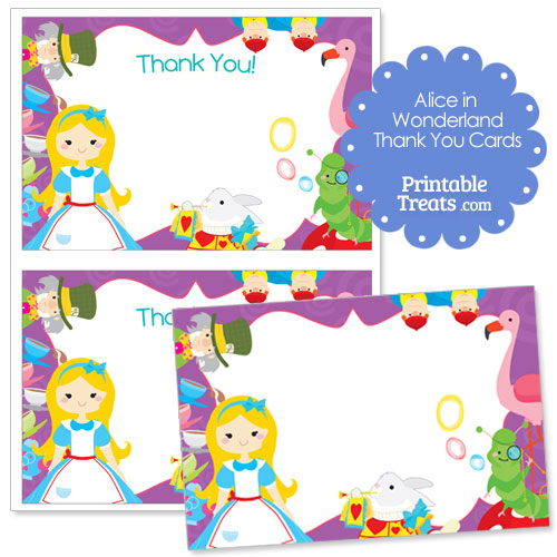 Alice in Wonderland printable thank you cards