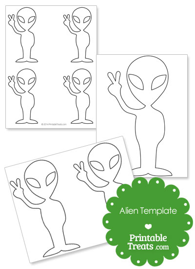 Alien Showing Peace Sign Template from PrintableTreats.com