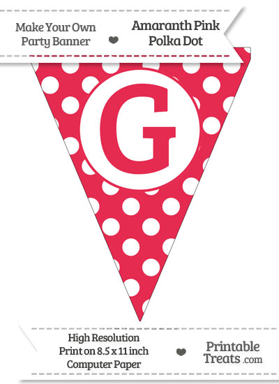 Amaranth Pink Polka Dot Pennant Flag Capital Letter G from PrintableTreats.com