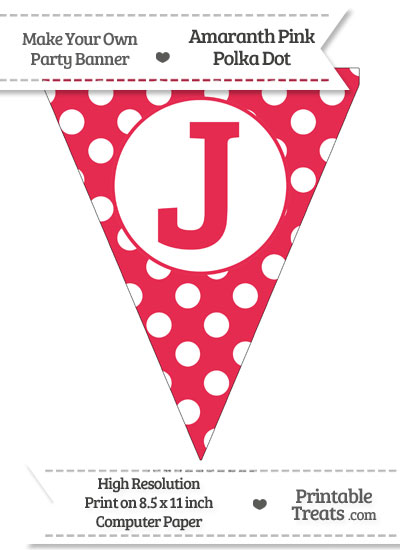 Amaranth Pink Polka Dot Pennant Flag Capital Letter J from PrintableTreats.com