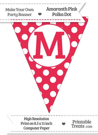 Amaranth Pink Polka Dot Pennant Flag Capital Letter M from PrintableTreats.com