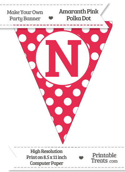Amaranth Pink Polka Dot Pennant Flag Capital Letter N from PrintableTreats.com