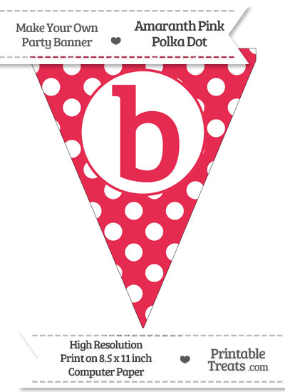 Amaranth Pink Polka Dot Pennant Flag Lowercase Letter B from PrintableTreats.com