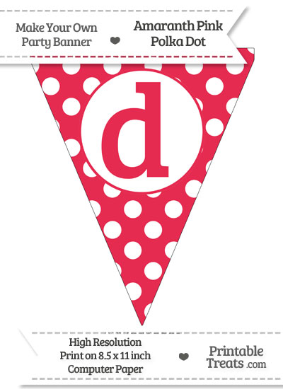 Amaranth Pink Polka Dot Pennant Flag Lowercase Letter D from PrintableTreats.com