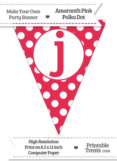 Amaranth Pink Polka Dot Pennant Flag Lowercase Letter J from PrintableTreats.com
