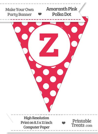 Amaranth Pink Polka Dot Pennant Flag Lowercase Letter Z from PrintableTreats.com