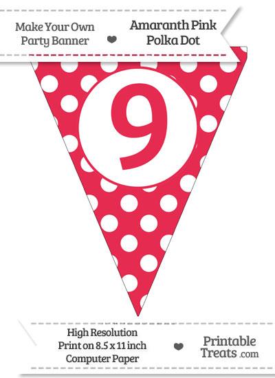 Amaranth Pink Polka Dot Pennant Flag Number 9 from PrintableTreats.com