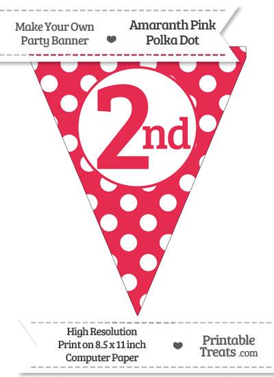 Amaranth Pink Polka Dot Pennant Flag Ordinal Number 2nd from PrintableTreats.com