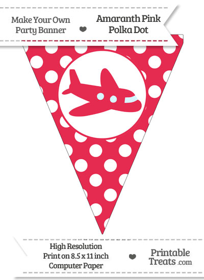 Amaranth Pink Polka Dot Pennant Flag with Airplane Facing Right from PrintableTreats.com