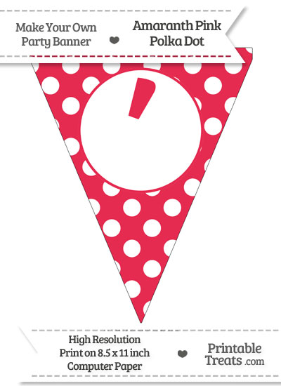 Amaranth Pink Polka Dot Pennant Flag with Apostrophe from PrintableTreats.com