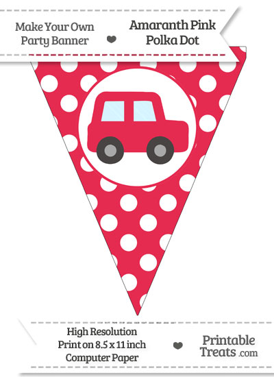 Amaranth Pink Polka Dot Pennant Flag with Car Facing Right from PrintableTreats.com