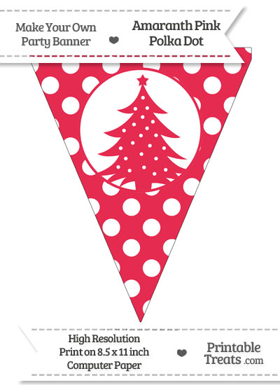 Amaranth Pink Polka Dot Pennant Flag with Christmas Tree from PrintableTreats.com