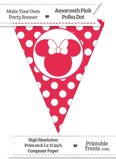 Amaranth Pink Polka Dot Pennant Flag with Minnie Mouse from PrintableTreats.com
