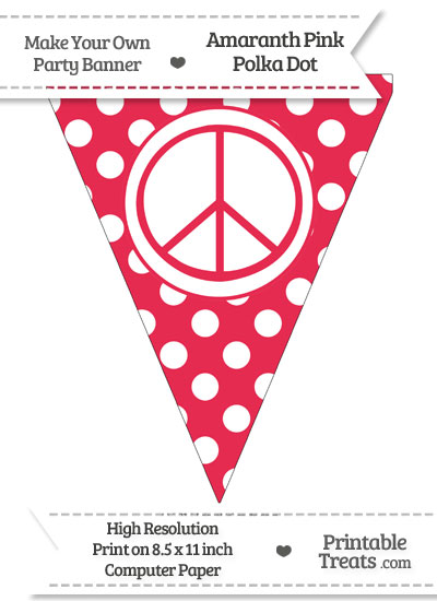 Amaranth Pink Polka Dot Pennant Flag with Peace Sign from PrintableTreats.com