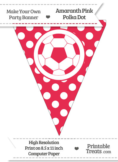Amaranth Pink Polka Dot Pennant Flag with Soccer Ball from PrintableTreats.com