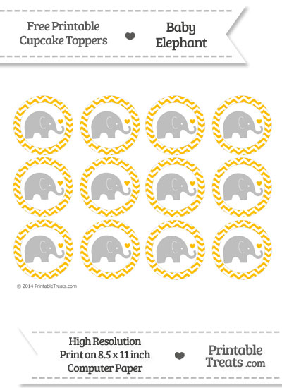 Amber Chevron Baby Elephant Cupcake Toppers from PrintableTreats.com