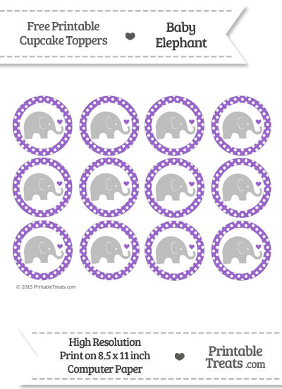 Amethyst Polka Dot Baby Elephant Cupcake Toppers from PrintableTreats.com