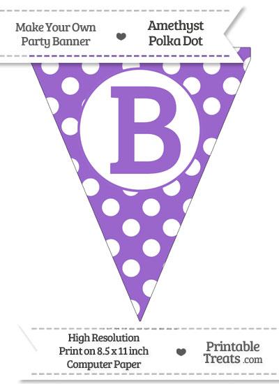 Amethyst Polka Dot Pennant Flag Capital Letter B from PrintableTreats.com
