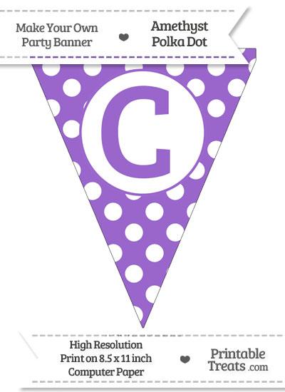 Amethyst Polka Dot Pennant Flag Capital Letter C from PrintableTreats.com
