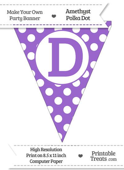 Amethyst Polka Dot Pennant Flag Capital Letter D from PrintableTreats.com