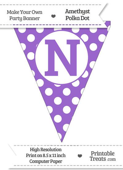 Amethyst Polka Dot Pennant Flag Capital Letter N from PrintableTreats.com