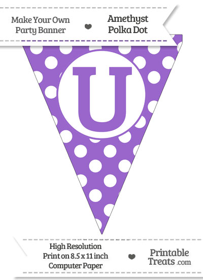 Amethyst Polka Dot Pennant Flag Capital Letter U from PrintableTreats.com