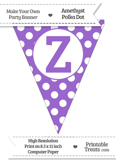 Amethyst Polka Dot Pennant Flag Capital Letter Z from PrintableTreats.com