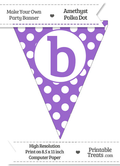 Amethyst Polka Dot Pennant Flag Lowercase Letter B from PrintableTreats.com