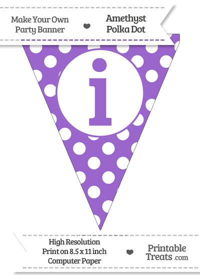 Amethyst Polka Dot Pennant Flag Lowercase Letter I from PrintableTreats.com