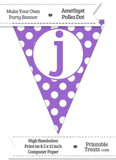 Amethyst Polka Dot Pennant Flag Lowercase Letter J from PrintableTreats.com