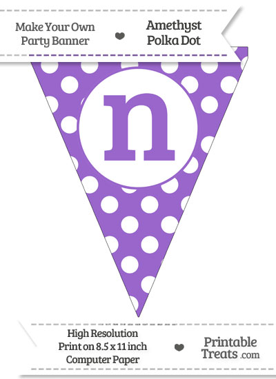 Amethyst Polka Dot Pennant Flag Lowercase Letter N from PrintableTreats.com