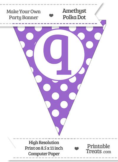 Amethyst Polka Dot Pennant Flag Lowercase Letter Q from PrintableTreats.com