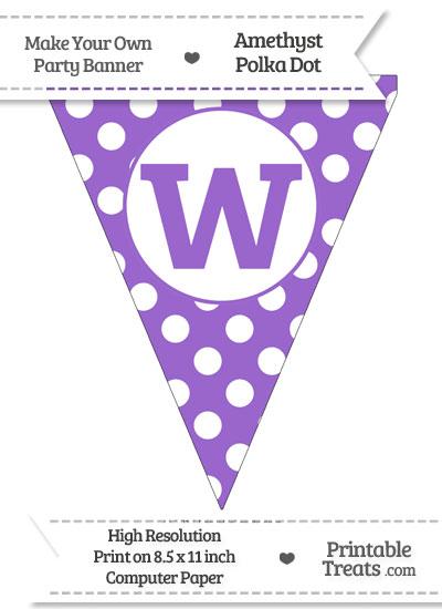 Amethyst Polka Dot Pennant Flag Lowercase Letter W from PrintableTreats.com