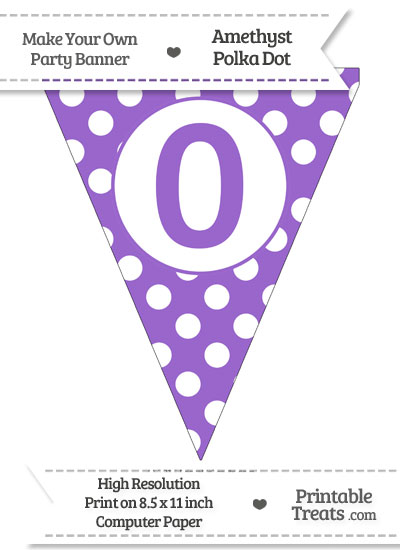 Amethyst Polka Dot Pennant Flag Number 0 from PrintableTreats.com