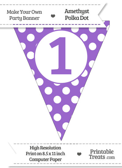 Amethyst Polka Dot Pennant Flag Number 1 from PrintableTreats.com