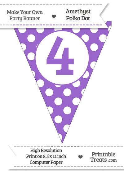 Amethyst Polka Dot Pennant Flag Number 4 from PrintableTreats.com