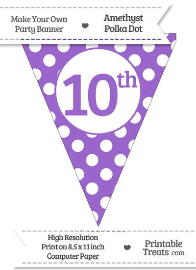 Amethyst Polka Dot Pennant Flag Ordinal Number 10th from PrintableTreats.com