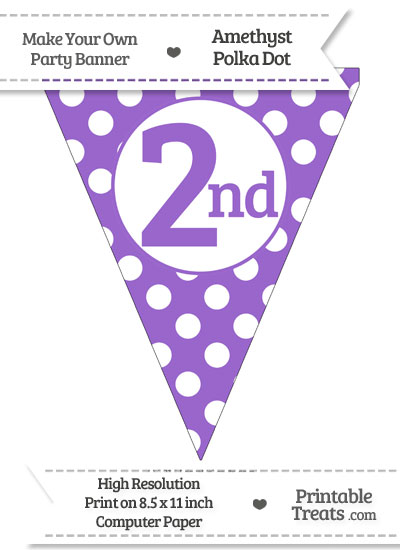 Amethyst Polka Dot Pennant Flag Ordinal Number 2nd from PrintableTreats.com