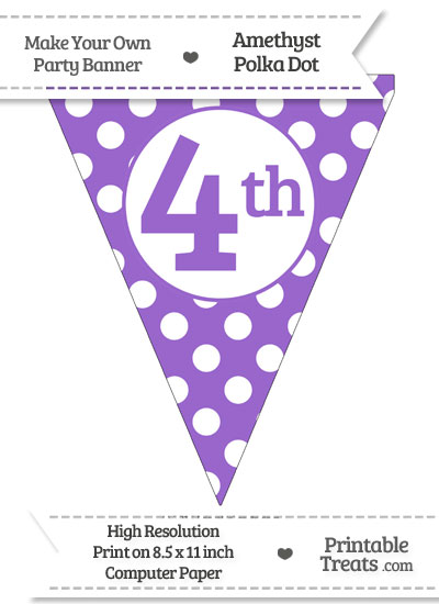 Amethyst Polka Dot Pennant Flag Ordinal Number 4th from PrintableTreats.com