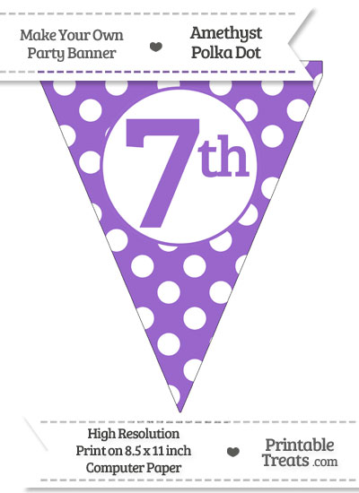 Amethyst Polka Dot Pennant Flag Ordinal Number 7th from PrintableTreats.com
