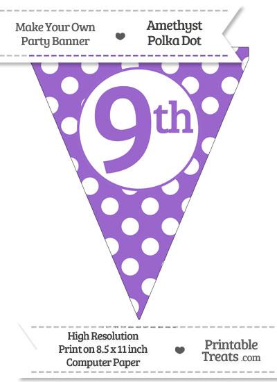 Amethyst Polka Dot Pennant Flag Ordinal Number 9th from PrintableTreats.com