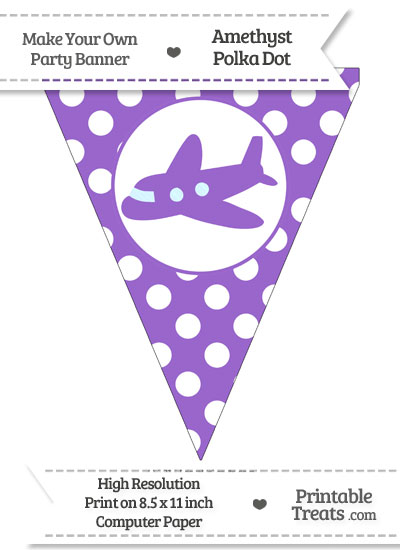 Amethyst Polka Dot Pennant Flag with Airplane Facing Left from PrintableTreats.com