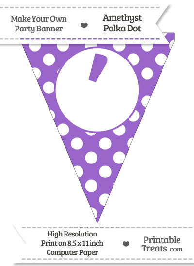 Amethyst Polka Dot Pennant Flag with Apostrophe from PrintableTreats.com