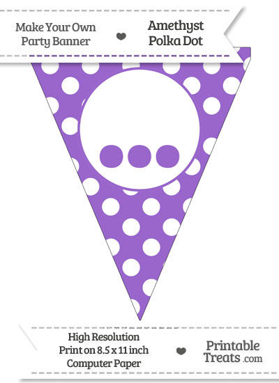 Amethyst Polka Dot Pennant Flag with Ellipses from PrintableTreats.com