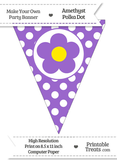 Amethyst Polka Dot Pennant Flag with Flower from PrintableTreats.com
