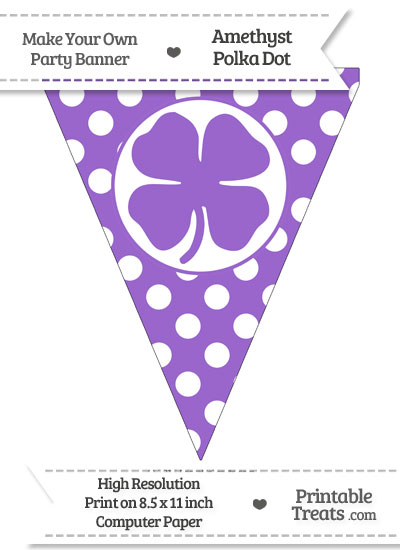 Amethyst Polka Dot Pennant Flag with Four Leaf Clover Facing Right from PrintableTreats.com