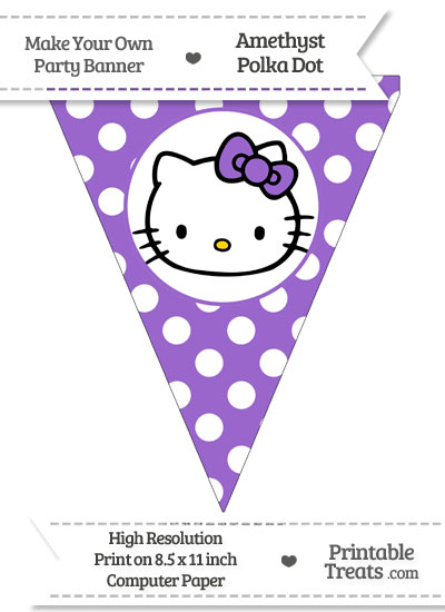 Amethyst Polka Dot Pennant Flag with Hello Kitty from PrintableTreats.com